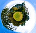 Spherical panorama of a green meadow tree and old castle Royalty Free Stock Photography