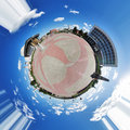 Spherical panorama of the Lenin square of Tomsk Stock Photos
