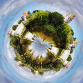 Spherical panorama Novodevichy convent Royalty Free Stock Photography