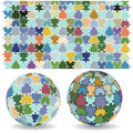 Spherical puzzles with pattern vector image of d in two different positions along jigsaw puzzle Royalty Free Stock Image