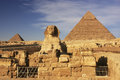 The sphinx and pyramid of khafre cairo egypt Stock Images