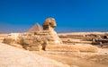 Sphinx and pyramids at Giza, Cairo Royalty Free Stock Photo