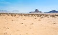 Sphinx rock in Wadi Rum desert Royalty Free Stock Photo