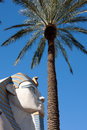 Sphinx statue and Palm Tree Stock Photos
