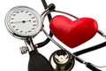 Sphygmomanometer and heart a blood pressure meter a stethoscope lying on a white background Royalty Free Stock Photos