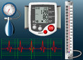 Sphygmomanometer illustration of several types of apparatus for measuring blood pressure Royalty Free Stock Image