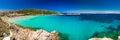 Spiaggia di Rena Bianca beach with red rocks and azure clear water, Santa Terasa Gallura, Costa Smeralda, Sardinia, Italy Royalty Free Stock Photo