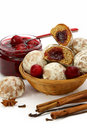 Spice-cakes with a cherry jam Royalty Free Stock Images