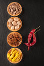 Spice Chilli, turmeric, anise, nutmeg and cardamom Royalty Free Stock Photography