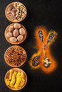 Spice Chilli, turmeric, anise, nutmeg, cardamom Stock Photos