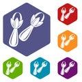 Spice cloves icons set hexagon