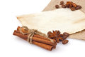 Spice with coffee seed on vintage sheet paper and cloth Royalty Free Stock Photos