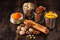 Spice curry, сardamom, turmeric, cinnamon, nutmeg, star anise Royalty Free Stock Images