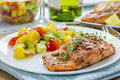 Spice grilled salmon with mango avocado salsa on a white plate Royalty Free Stock Images