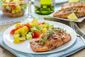 Spice grilled salmon with mango avocado salsa on a white plate Stock Photos