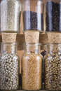 Spice jars collection a of spices in glass Royalty Free Stock Photography