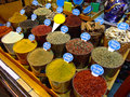 Spice market egyptian with spices in istanbul turkey Royalty Free Stock Images