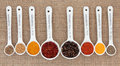 Spice quantities selection in white china spoons with millilitre measurement over hessian background Royalty Free Stock Images