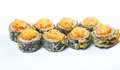 Spice sushi with sauced slices japanese rice and fish Royalty Free Stock Photos