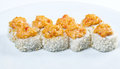 Spice sushi with sauced slices japanese rice and fish Stock Photography