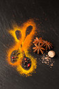 Spice turmeric, nutmeg, star anise and peppercorns Royalty Free Stock Images