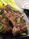 Spiced Lamb Chops with Raita - Chaamp Lajawab Stock Photo