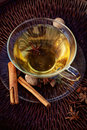 Spiced tea winter with aromatic spices fruit hot punch Royalty Free Stock Image