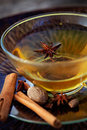 Spiced tea winter with aromatic spices fruit hot punch Royalty Free Stock Photography
