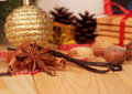 Spices on the background of christmas decorations closeup Royalty Free Stock Photo