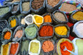 Spices bags of in market in ecuador Royalty Free Stock Images