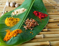 Spices on a banana leaf Stock Image