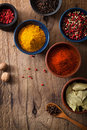 Spices in bowls: pink and black pepper, paprika powder, curry, b Royalty Free Stock Photo
