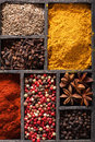 Spices in box: pink and black pepper, ground paprika, curry, ani Stock Photography