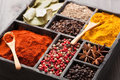 Spices in box: pink and black pepper, paprika powder, curry, bay Stock Image
