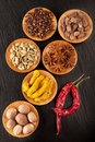 Spices  Chili,  turmeric,  anise, nutmeg and carda Stock Photo