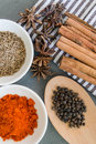 Spices: chillie powder, cinnamon stick, black pepper, cumin seeds and clove flower Royalty Free Stock Photo