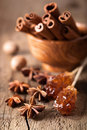 Spices cinnamon anise nutmeg rock sugar Royalty Free Stock Photography