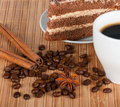 Spices,coffee and a piece of cake Royalty Free Stock Images