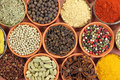 Spices colorful in ceramic and metal containers beautiful kitchen image Stock Image