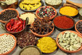 Spices colorful in ceramic and metal containers beautiful kitchen image Royalty Free Stock Image