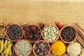 Spices colorful in ceramic and metal containers beautiful kitchen image Stock Images