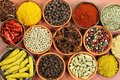 Spices colorful in ceramic and metal containers beautiful kitchen image Royalty Free Stock Photos