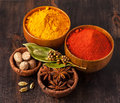 Spices Curry, paprika, nutmeg, cardamom, bay leaf Stock Image