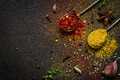 Spices food background. selection variety dry Whole and ground spices on a black background Royalty Free Stock Photo