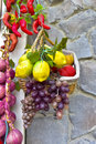 Spices and fruit mixed in basket. Royalty Free Stock Photo