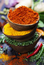 Spices and herbs over wood food cuisine ingredients Stock Image