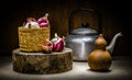 Spices and kettle in kitchen still life of with light painting Stock Photos