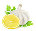 Spices lemon garlic and parsley gremolata ingredients over white background Stock Images