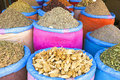 Spices at the market of marrakesh morocco in souk Stock Images