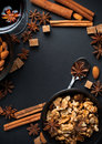 Spices for mulled wine cinnamon star anise brown sugar red and nuts on a black background in studio Royalty Free Stock Photo